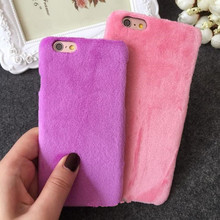 Fashion Warm phone case Soft Velvet Hard back phone cover for iphone 6 6s 6 plus coverring felpas para el pelo(China (Mainland))
