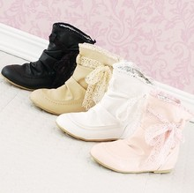 Plus size shoes pink white elevator ankle boots plus size boots 40 41 42 43(China (Mainland))