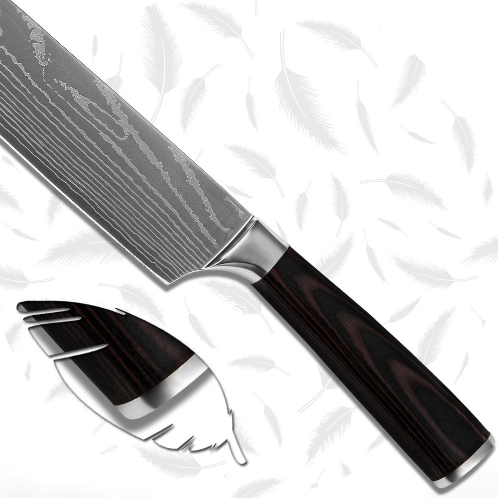 Buy 7Cr17stainless steel blade santoku knife 7 inch kitchen knife laser Damascus stlye color wood handle cooking tools100% brand new cheap