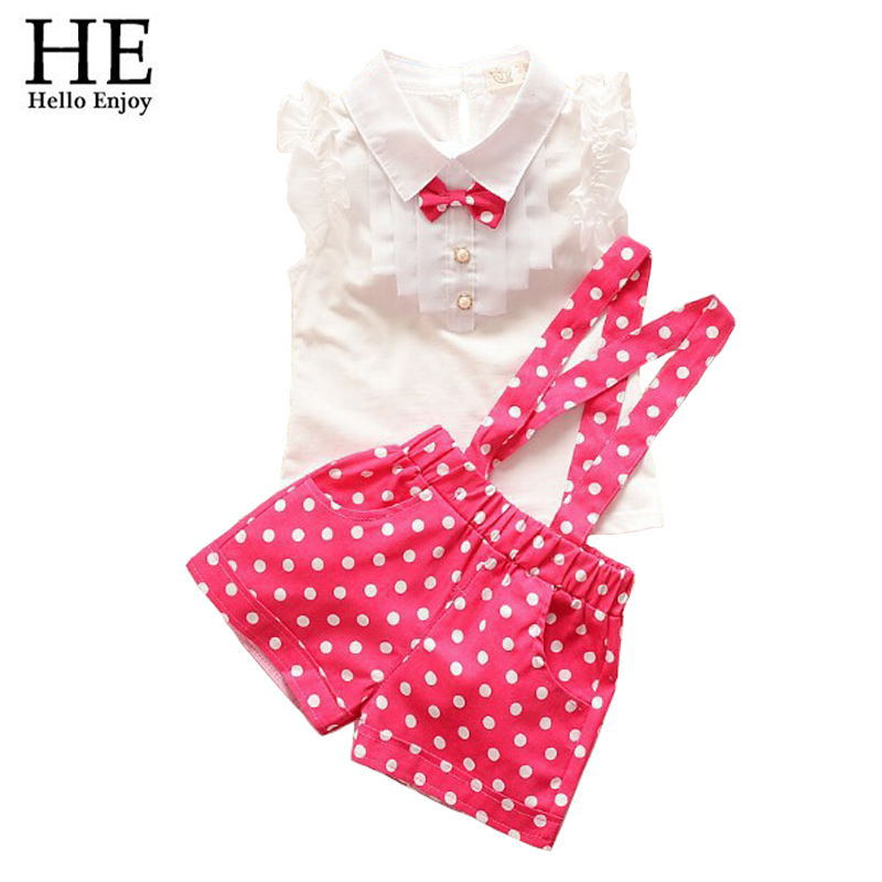 HE Hello Enjoy kids clothes girls summer 2016 girls clothing sets toddler girl clothing T-shirt + dot pants children clothing(China (Mainland))