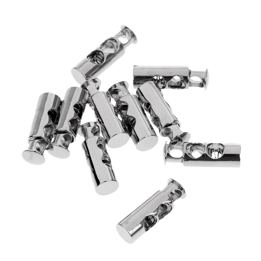 10 Pieces Metal Double Barrel Cord Lock Draw String Toggle Stopper Cordlocks Silver