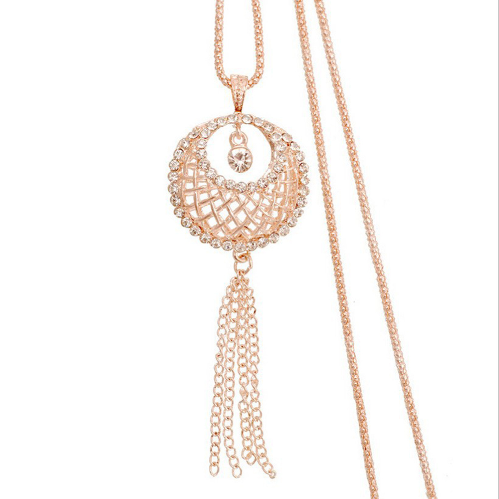 2016 New arrival Personalized bird nest necklace female Korean long paragraph sweater chain tassel crystal small jewelry(China (Mainland))
