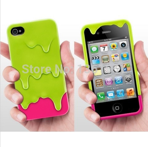 2014 Promotion NEW cute 3D Melt Ice Cream Skin Detachable Hard back Cover Case iPhone 5 5s 4 4s Creative gelo cream cases - Big Deal store