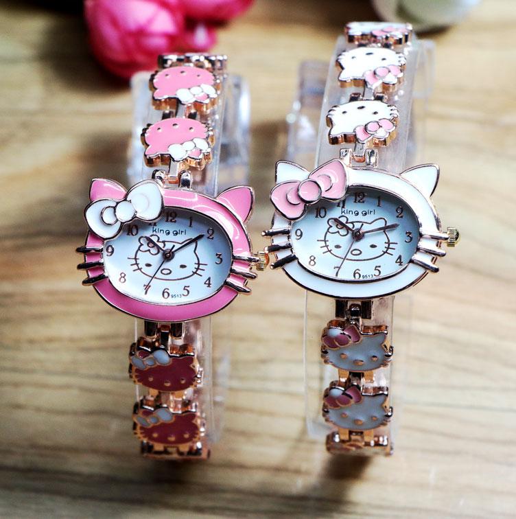 Lovely Hello Kitty Fashion Brand Bracelet Watches Children Girl Women Ladies Casual Quartz Watch Wrist Watch Wristwatch Clock(China (Mainland))