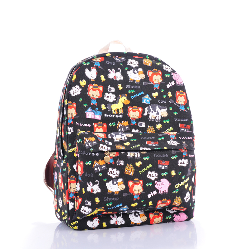 Cartoon small raccoon dog backpack leisure fashion men's women's travel bags campus wind students bag computer - jian ye's store