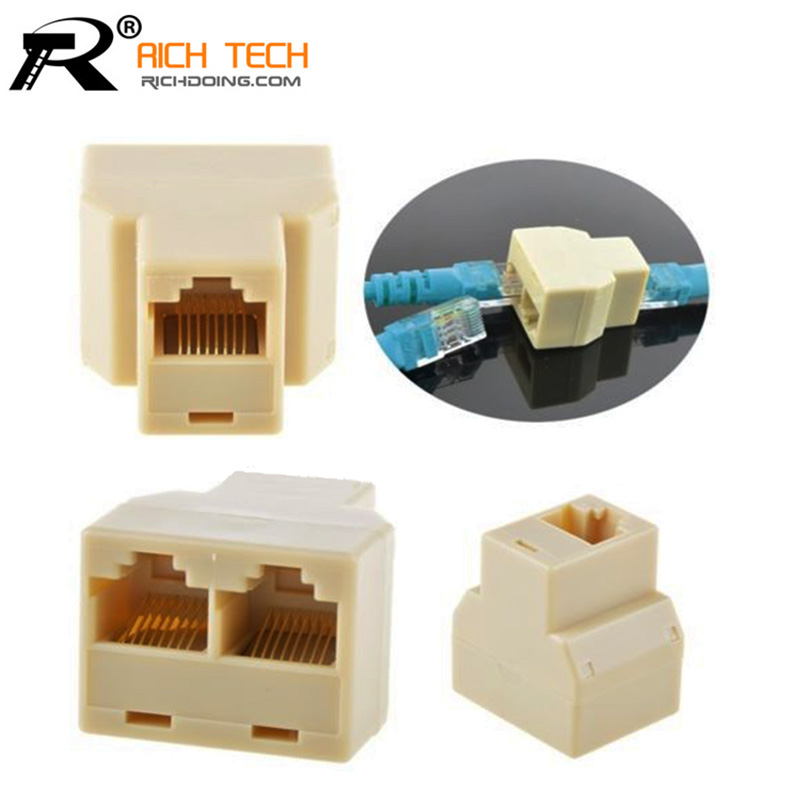 Cable network RJ45(8-core)one point two connectors extend the interface adapter splitter network links 3pcs/lot(China (Mainland))
