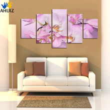 Buy Hand Painted Purple red Oil Painting Flowers Modern Abstract 5 Panel Canvas Art Wall Picture bedroom Home decor Unframed A23 for $29.44 in AliExpress store