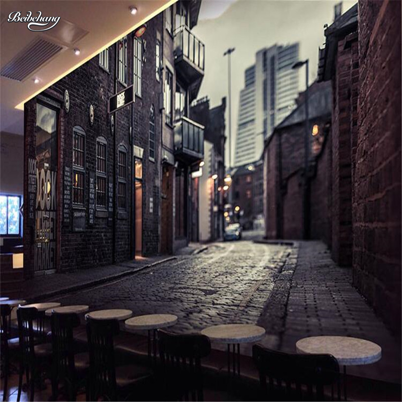 3d wall murals wallpaper street cafe promotion shop for for Cafe mural wallpaper