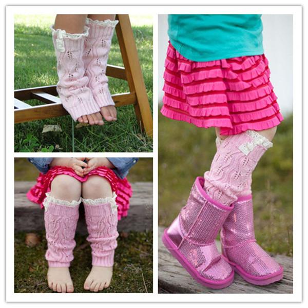 Kids' Fashion Little Girls' Knitting Leg Warmers Crochet Lace Trim Buttons Children Leg Warmers Winter Kid Boot Socks MU852390(China (Mainland))