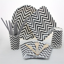 Disposable 5 Color Party Tableware Set Chevron Paper Plates Straws Bags Chevron Paper Cups Wooden Forks Spoons Knives(China (Mainland))