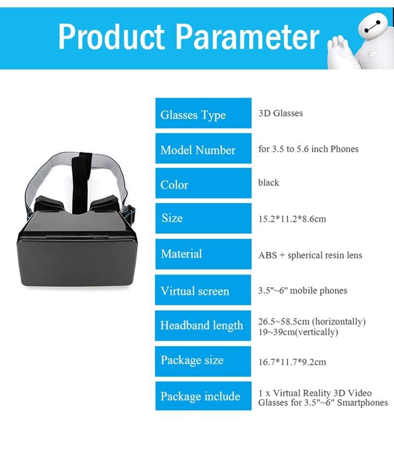 Modern Design Black Universal Virtual Reality 3D Video Glasses for 3.5-5.6 inch Phones Google Cardboard Movie Cinema Convenient