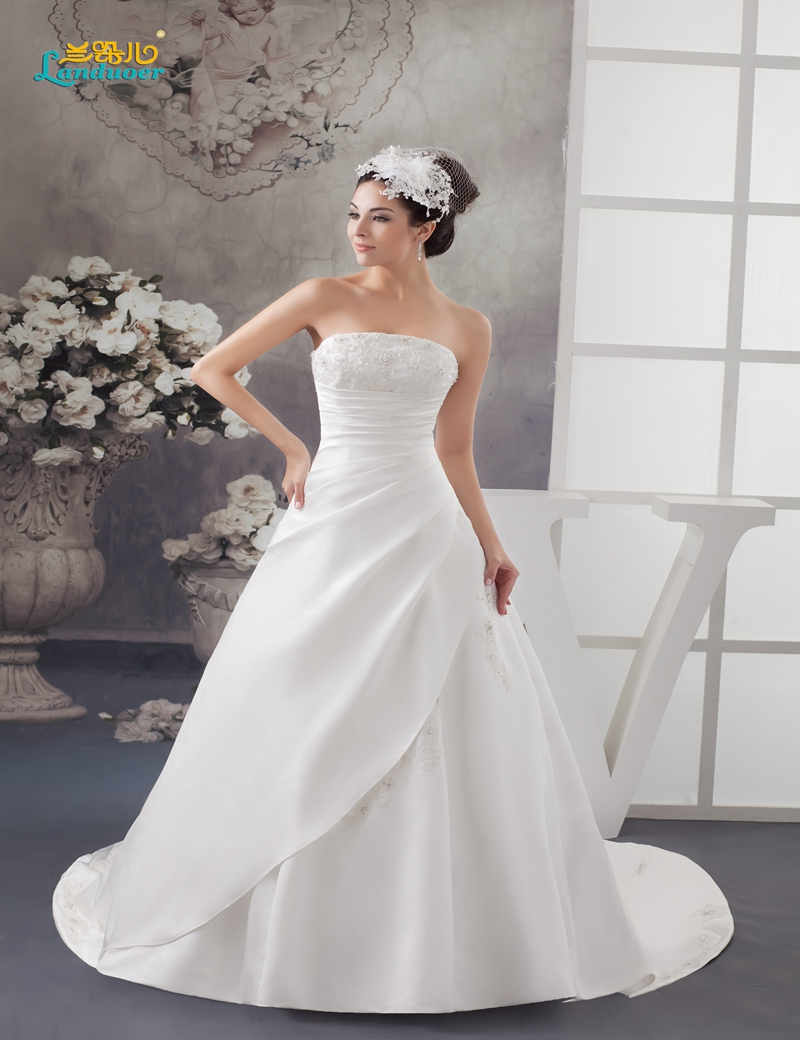 Robe de mariee princesse strapless organza wedding dresses for Courthouse wedding dress plus size