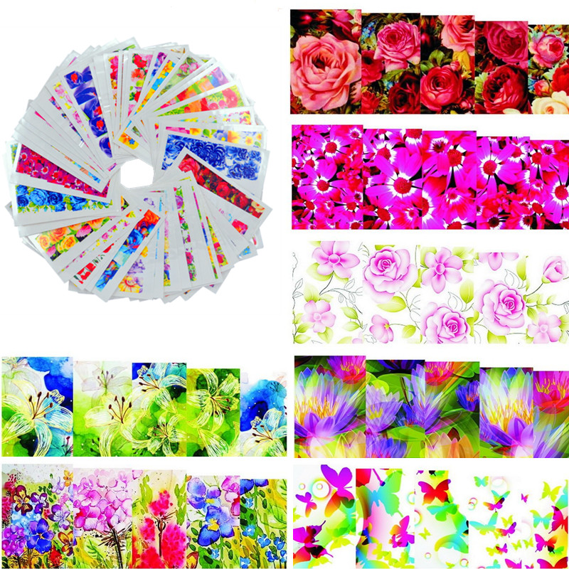 50sheets Color Flower Hot Designs Watermark Nail Stickers Temporary Tattoos DIY Tips Nail Art Decals Manicure Beauty Tools(China (Mainland))