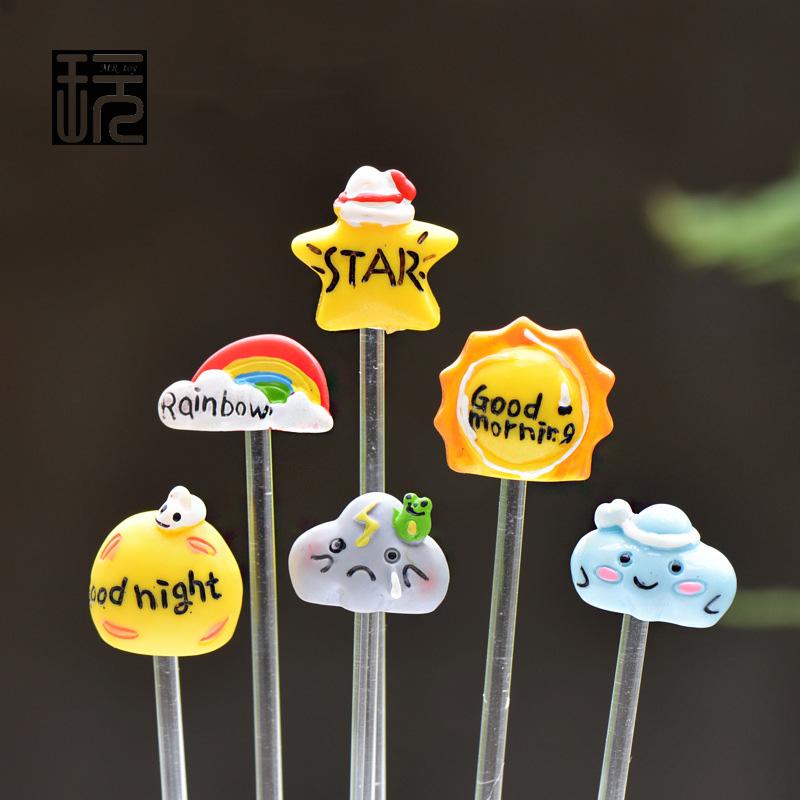 Zakka Cartoon Pastoral Style Rainbow/ Star/ Sun/ Cloud Resin Craft For Flowerpot Accessories Fairy Garden Miniatures Decoration(China (Mainland))