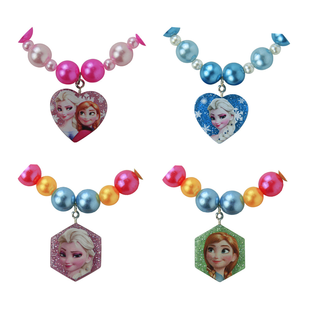 Anna Elsa Pendant Necklaces hexagon heart For Kids Baby Child Girls Jewelry Gift Cosplay Character Figure one piece(China (Mainland))