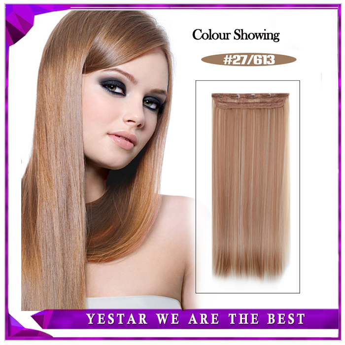 Fashionable 1 Piece Women's 24 Inches 120g Synthetic Hair Long Straight 5 Clips Hair Clip In Hair Extensions By Free Shipping(China (Mainland))