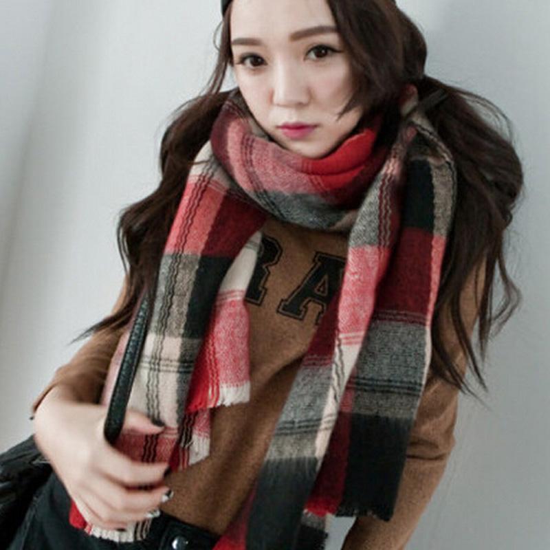 NEW Winter all match Girls Ladies Blanket big size font b Tartan b font Scarf Plaid