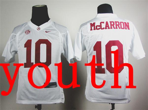 Nike Youth Nike Alabama Crimson Tide AJ McCarron 10 White College Football Jersey(China (Mainland))