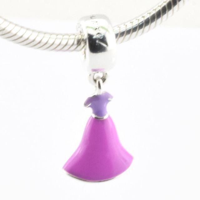 Disny рапунцель платье сирень и пурпурный эмаль бусины подходит пандо ра CharmBracelet стерлинг 925 серебряные Jewerly 2016 весенняя коллекция