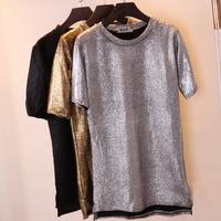 Free Shipping New Women Metal Feeling Short T-shirt Black Gold Sliver Plain Metallic Sequins Top Shirt