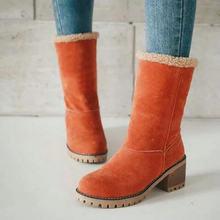 DAOKFPO Neue Frauen Stiefel Winter im freien Warm halten Pelz Stiefel Wasserdicht frauen Schnee Stiefel Starke ferse mit runde kopf kurzen boot(China)