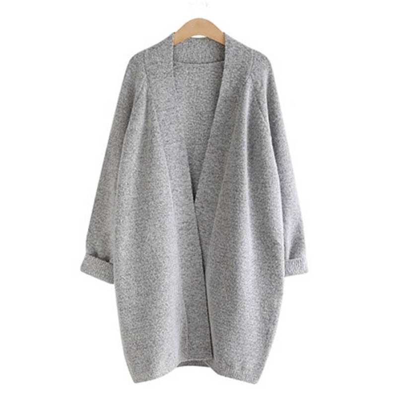 2015 New Fashion Hot Sell Loose Sleeve Long Cocoon-shaped Cardigans Gray Beige Black Winter Coat sweater Long Tench Plus Size(China (Mainland))