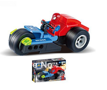6006 Kazi Spider Man Series Red Police Motorcycle Building Block Sets 4Enlighten EducationalDIY Construction Bricks toys
