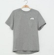 Women T Shirt 2016 Summer Style T-shirt Print Middle Finger Pocket Cat Harajuku O-neck Short Sleeve Cotton Couple Tee Plus Size(China (Mainland))