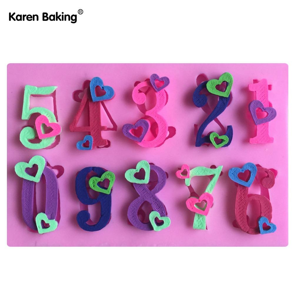 0-9 Number Shape 3D Silicone Cake Mold Cake Tools Decorating DIY Kitchenware ,Bakeware -C568(China (Mainland))