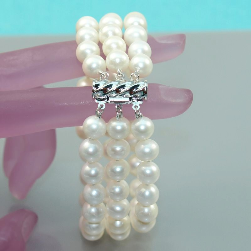 s134 Three rows beautiful pearl bracelet AA7-8mm White black pink Seawater cultured freshwater pearls Fashion gift - Dream jewels store