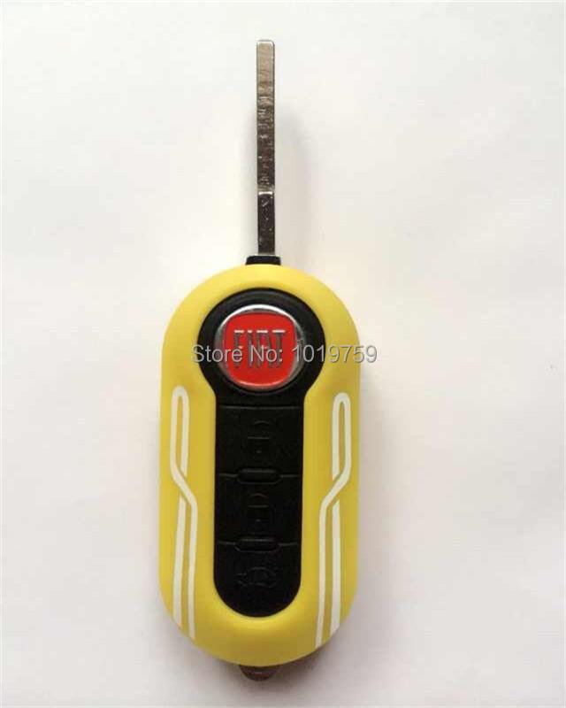 Yellow Cover Fiat 500 Brava Panda Punto 3 button flip remote key fob shell(China (Mainland))