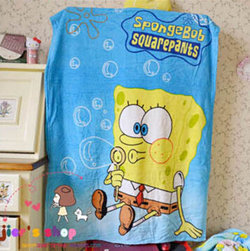 Baby Blanket/Cartoon Style/Girl Soft Coral Blankets/Spongebob/Wholesale/Blue/100cm*140cm/Air Conditioning Blanket(China (Mainland))
