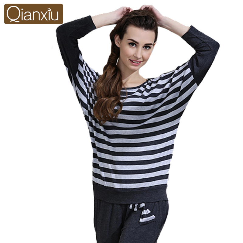 Qianxiu Batwing Pajama Sets for women Classic Stripes Pijama Plus Size Pyjama femme