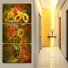 Buy 2016 Hot Sale 3 Panels Wall Painting Yellow Flowers Painting Canvas Wall Art Picture Home Decor Flowers Canvas Hallway Painting for $7.02 in AliExpress store