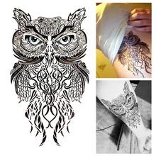 Blue Eyes Owl Temporary Tattoo Body Art Flash Tattoo Stickers 12*20cm Waterproof Henna Tatoo Car Styling Home Decor Wall Sticker