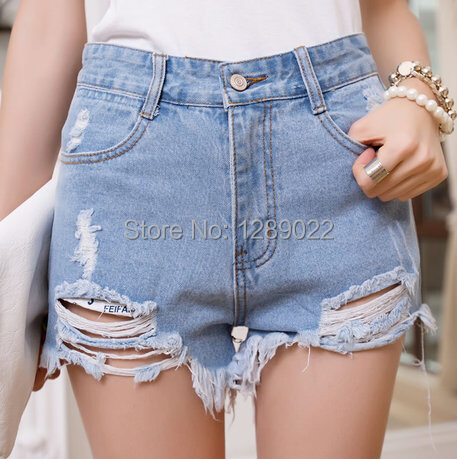 New 2015 Summer Style Hole Punk Rock Fashion High Waisted Denim Shorts Vintage Ripped Short Jeans Sexy Womens Short Femme(China (Mainland))