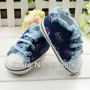 Hot selling Lovely blue jeans infant baby girl sneakes home shoes first walker shoe Prewalkers baby Sneakers free shipping!