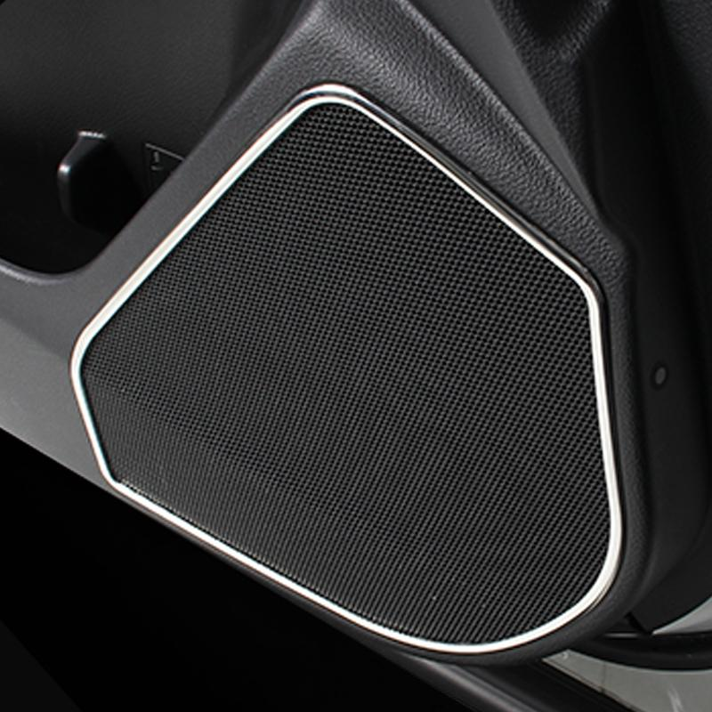 Car audio ring car stickers door speaker stainless steel  decorative circle cover for 2013 2014 2015  Subaru Forester  <br><br>Aliexpress