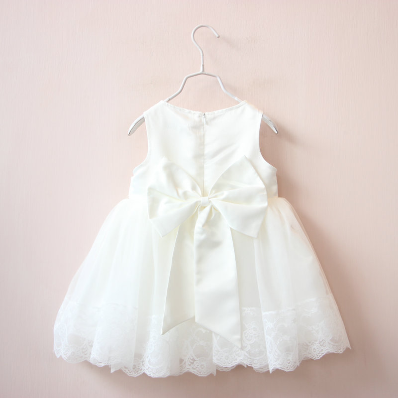 Hot Baby Girls Mesh Lace Party Dresses Kids Girl Summer Princess Bow Dress Babies tutu Ruffle Dress 2016 Children's Clothing