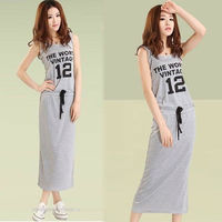 Summer Style Vestidos Dress Femininos Sports Style Dresses Street Slim Letters Numbers Printed O-neck Sheath Long Dress NZH027