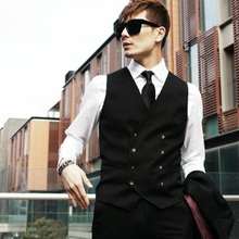 2015 New Top Design Mens Double-breasted Casual Suit Tuxedo Dress Vest Waistcoat# 51768(China (Mainland))
