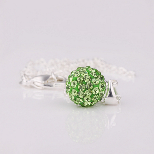 New Arrivals Free shipping Green pendant necklace pendants 10 MM Rhinestone Crystal pendants for women gdb(China (Mainland))