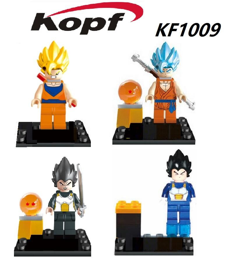 KF1009 Constructing Blocks Units Dragon Ball Z Minifigures Dragon Ball Vegeta Goku Vegeta Grasp Roshi With Ball Child Bricks Toys Reward