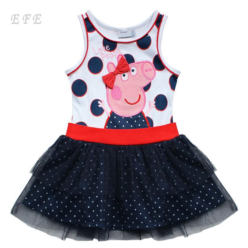 EFE Retail Cartoon Dress Christmas Tutu Birthday Dresses Girls Party Dress Kids Summer Casual Wear For Baby Girl Children(China (Mainland))