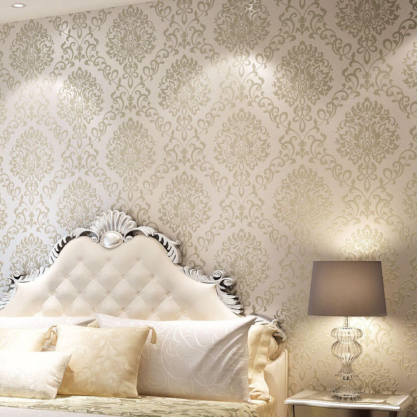 Popular 3d european damascus decor mural home wallpaper for Bedroom wallpaper sale