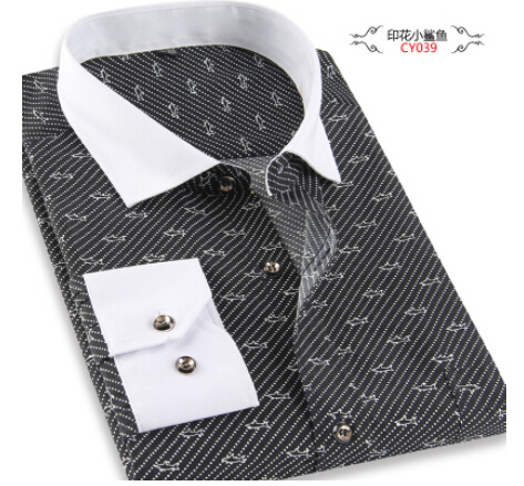 Brand Print Men Shirt Long sleeve Shirt Slim Fit Casual Shirts Fashion Men s Clothing Casual