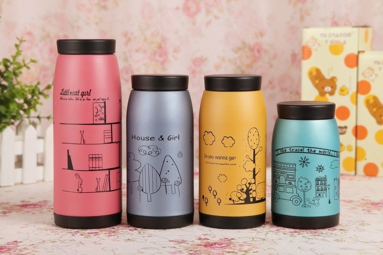 250ml 350ml 500ml Stainless Steel Thermos Mug Insulated Tumbler Belly Cups Thermo Vacuum Cup for Office Lovely Garrafa Termica