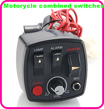 DC12V police motorcycle siren alarm multifunctional combined switches controller+microphone+2units 20W motorcycle speaker(China (Mainland))