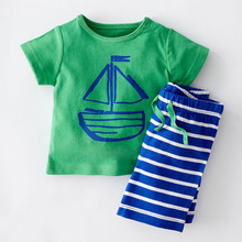 2016 Fashion Summer Boys Clothes Sets Kids Clothes Short-Sleeve Cartoon T-Shirt + Striped Pant Boys Clothing Set CF101(China (Mainland))