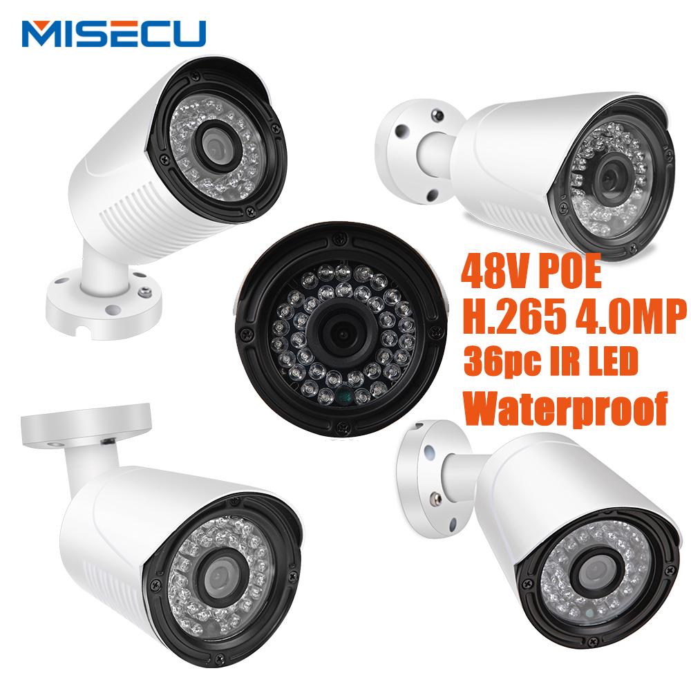 "MISECU Hot 4.0MP H.265/H.264 48V POE Hi3516D OV4689 Onvif IP Camera 1/3"" WDR 1 RS485 ONVIF 2592*1520 Metal 36IR P2P Night View"